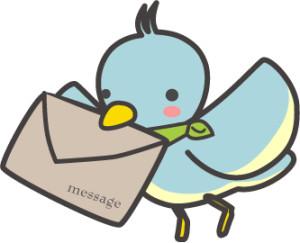 鳥とメールイラスト